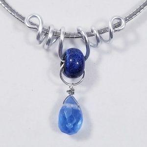 Aluminum Silver Spiral Pendant Ceramic Blue Bead